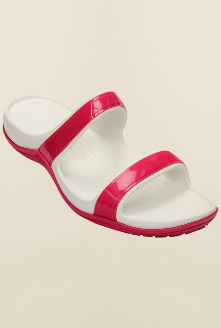Crocs Patra II Raspberry & White Slide Sandals