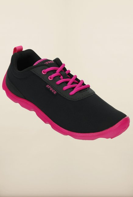 Crocs Duet Busy Day Black & Candy Pink Sneakers