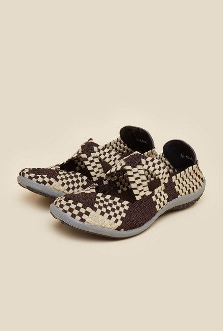 Metro Beige & Brown Weave Design Sandals
