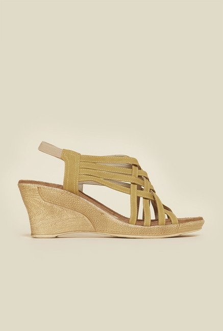 Metro Beige Criss Cross Wedge Sandals