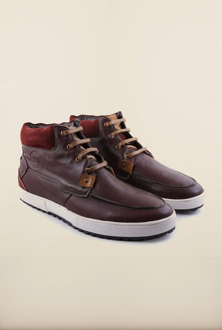 US Polo Assn. Brown Leather Lace Up Sneakers