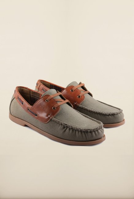 US Polo Assn. Olive Leather Boat Shoes
