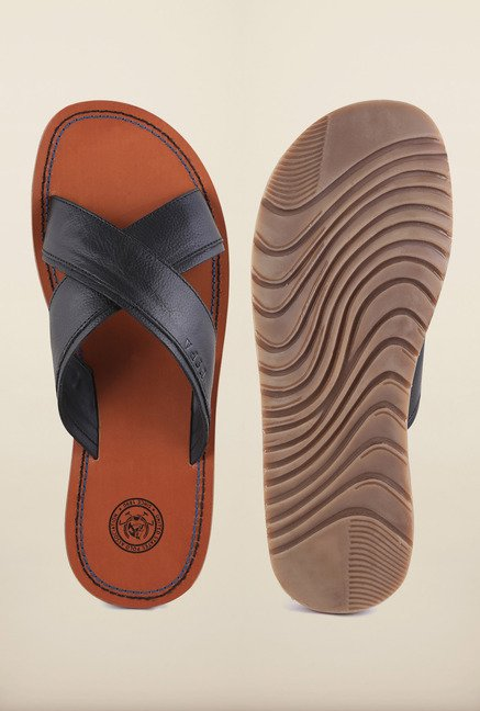 US Polo Assn. Black Leather Cross Strap Sandals
