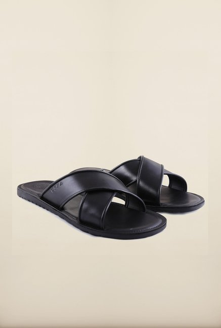 US Polo Assn. Black Leather Sandals