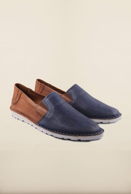 US Polo Assn. Navy & Tan Leather Slip-Ons Loafers