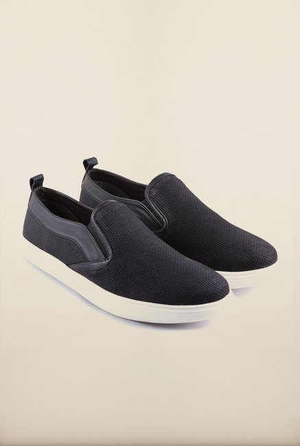 US Polo Assn. Black Leather Slip-Ons Boat Shoes