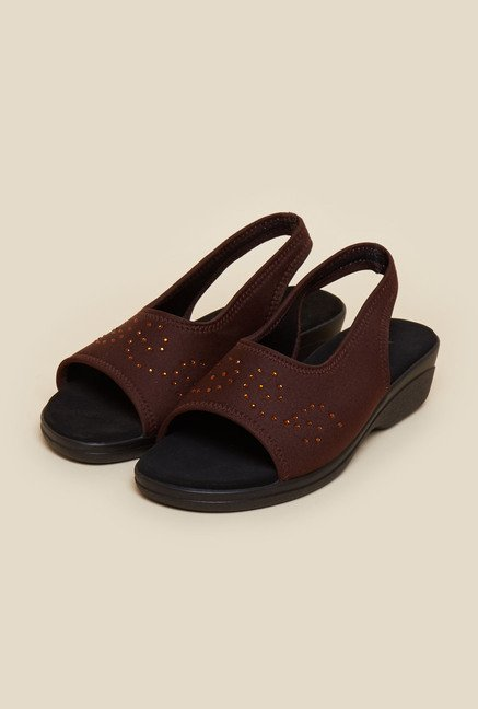 Metro Brown Peep Toe Slip On Sandals
