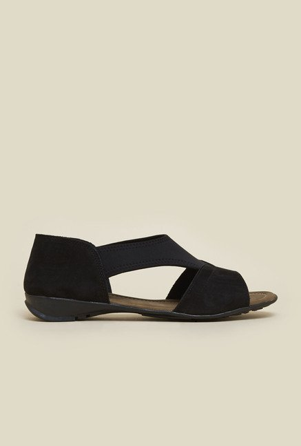Metro Black Velvet Peep Toe Sandals