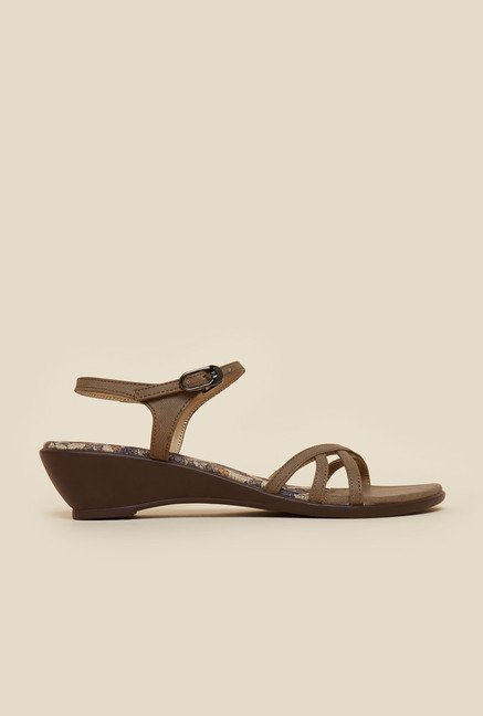 Metro Chickoo Wedge Sandals