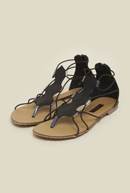 Metro Black Elastic Trim Sandals