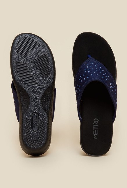 Metro Blue Wedges Slip-On Sandals