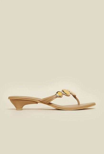 Metro Beige Metallic Sandals