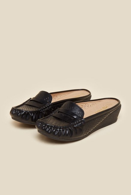 Metro Black Slide Loafers
