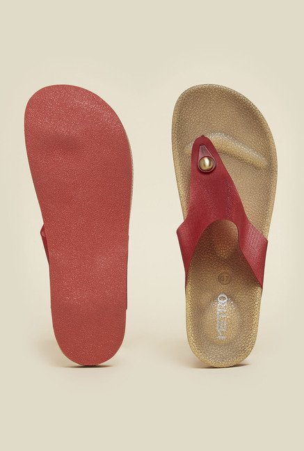 Metro Red Strap Slip-On Sandals