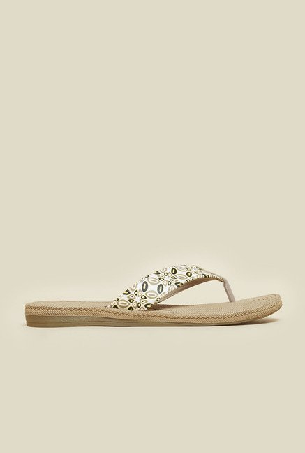 Metro Beige And White Printed Slip-Ons