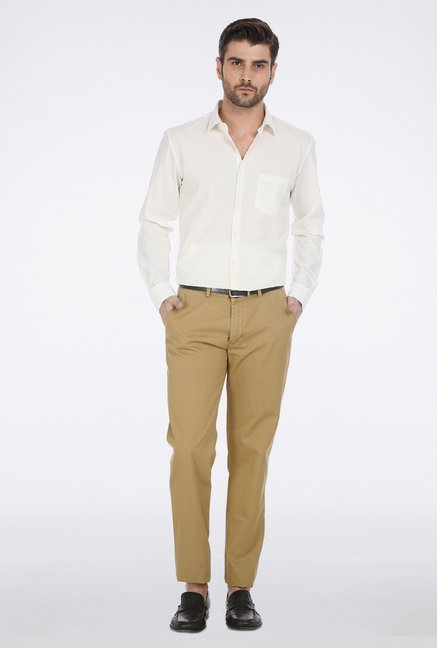 Basics Khaki Ribbed Trouser