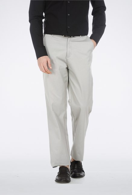 Basics Light Grey Poly Cotton Trouser