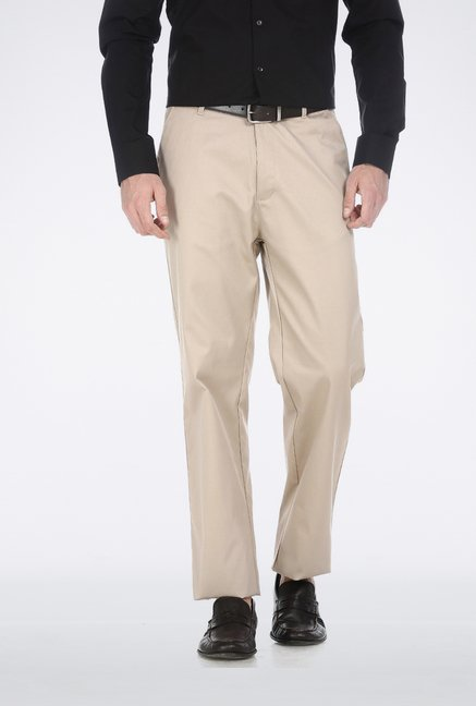 Basics Beige Poly Cotton Trouser