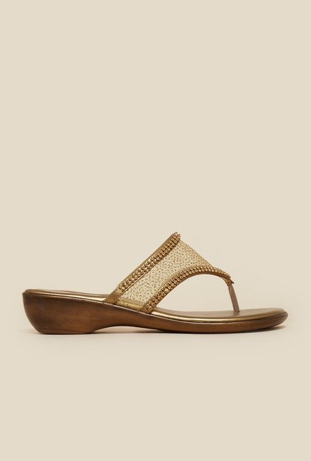 Metro Antique Gold Net Strap Sandals