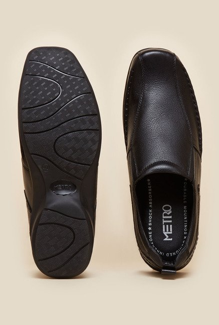 Metro Black Leather Loafers