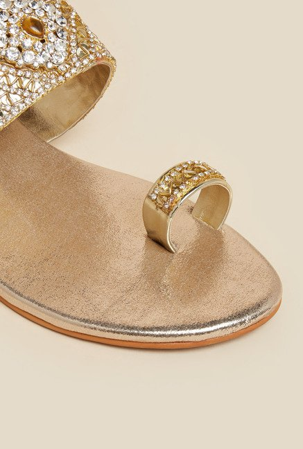 Metro Gold Bead Work Sandals