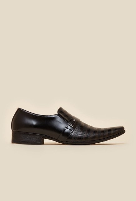 Metro Black Formal Stripe Pattern Formal Shoes