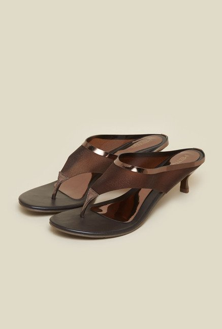 Metro Bronze Backless Slip-On Heels