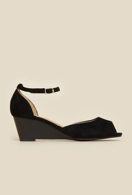 Metro Black Peep Toe Wedges