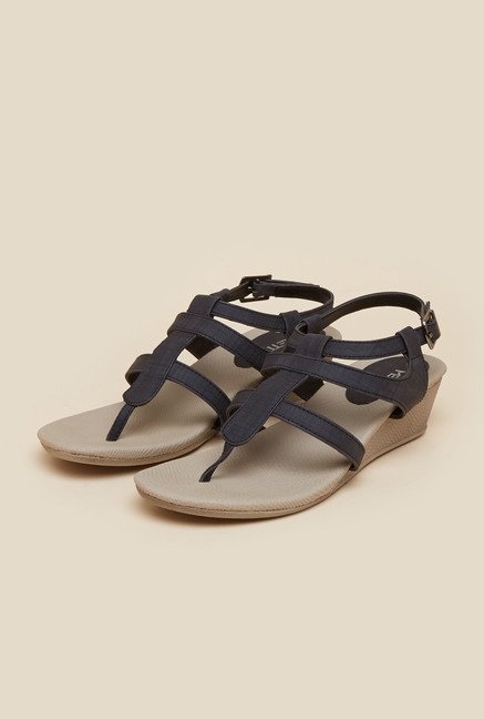 Metro Navy Wedge Sandals