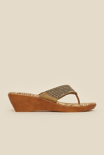 Metro Antique Gold Slip-On Ethnic Sandals