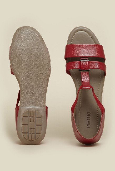Metro Red Flat Sandals