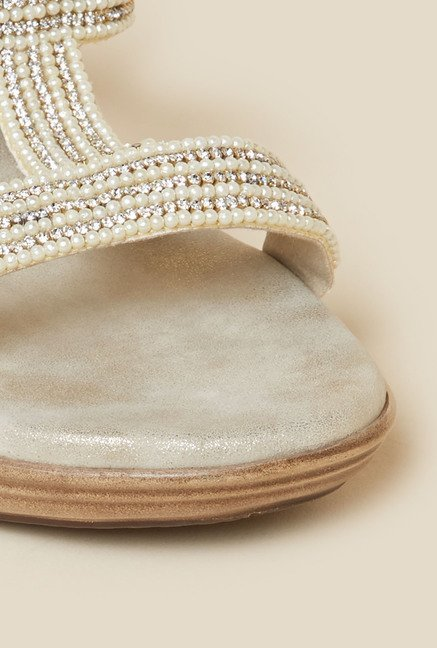 Metro Beige Beaded Wedges