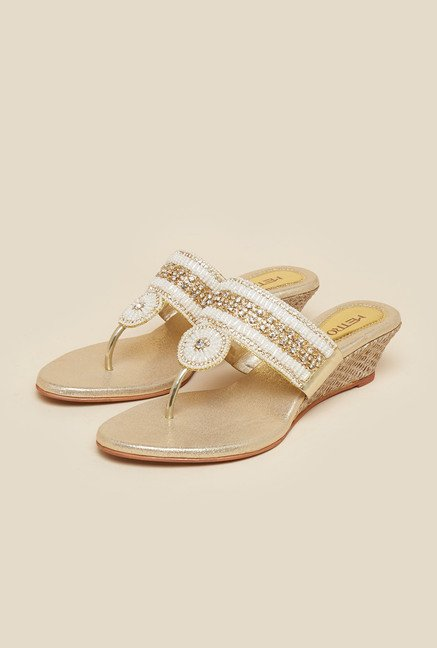 Metro Gold Bead & Stone Work Sandals