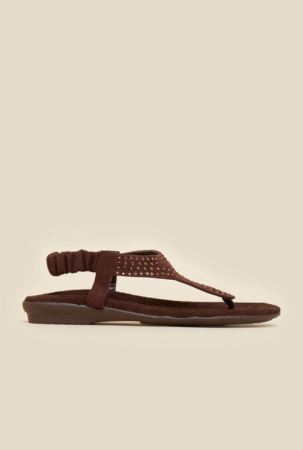 Metro Brown Back Strap Flat Sandals