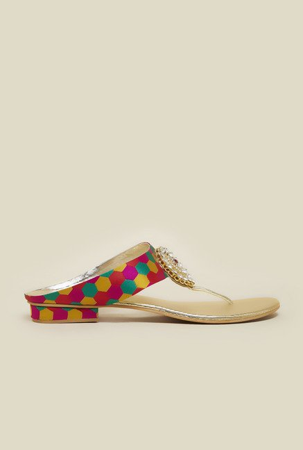 Metro Gold Multicolor Strap Sandals