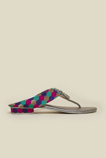 Metro Gun Metal Multicolor Strap Sandals