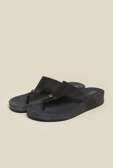 Metro Black Casual Thongs