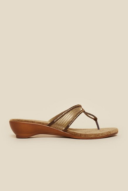 Metro Antique Gold Slip-On Flats