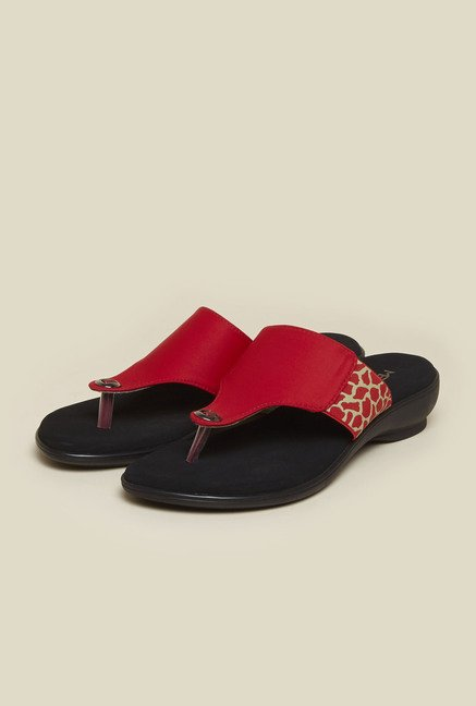 Metro Red Animal Print Slip-On Sandals