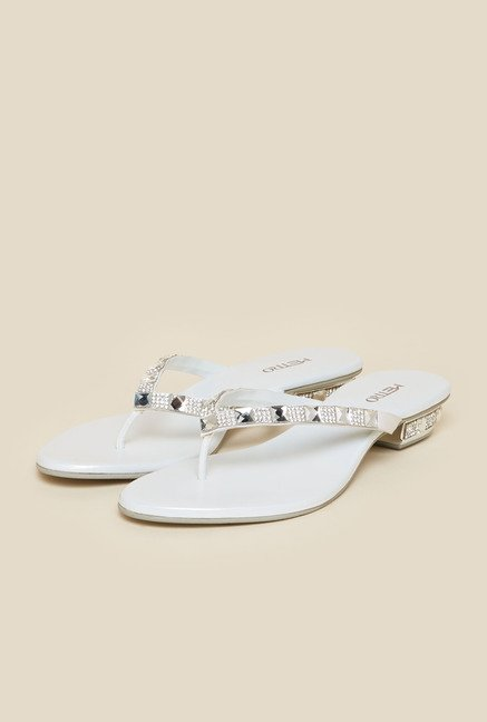 Metro White Diamond Embellished Sandals