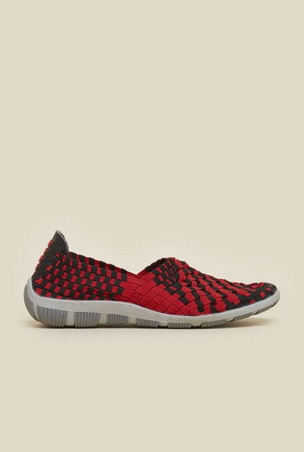 Metro Red & Black Slip-On Shoes