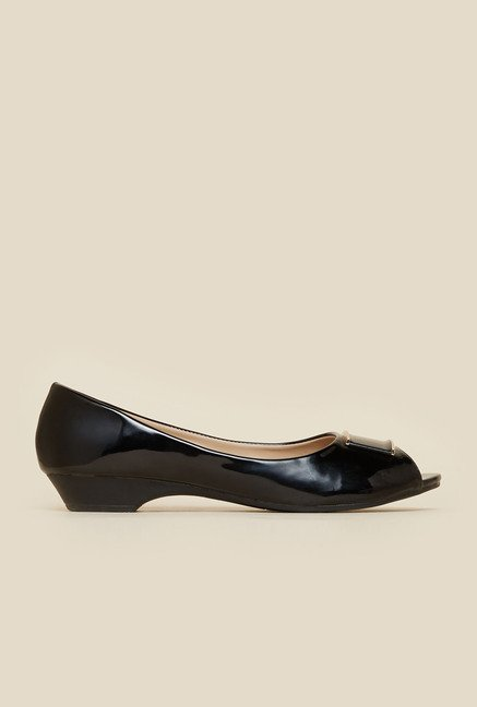 Metro Black Peep Toe Ballerina Shoes