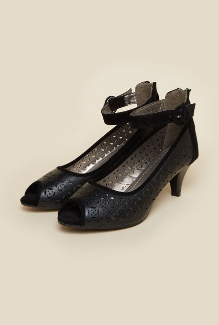 Metro Black Ankle Strap Peep Toe Shoes