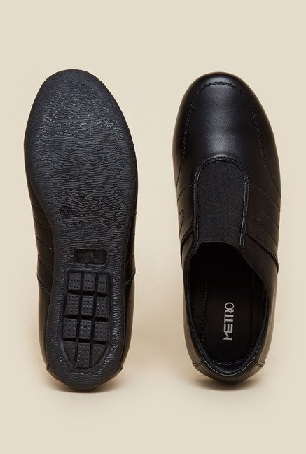 Metro Black Flat Slip-On Shoes