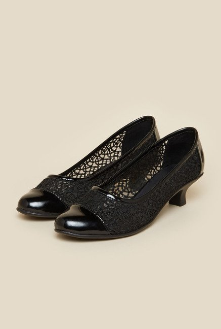 Metro Black Embroidered Mesh Kitten Heel Shoes