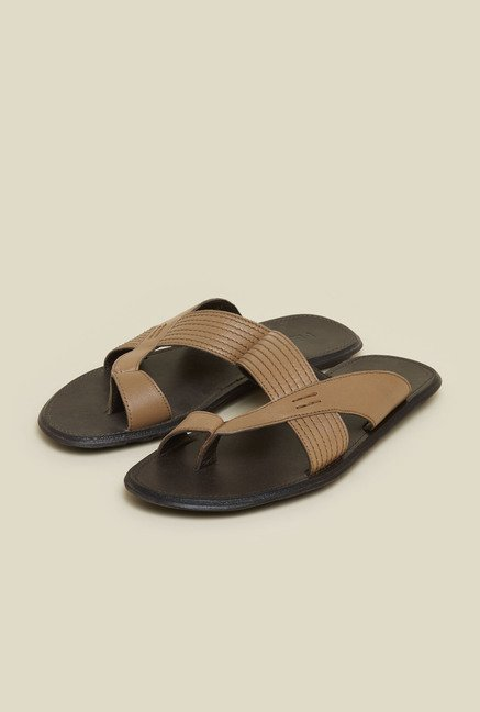 Metro Tan Leather Flip Flops