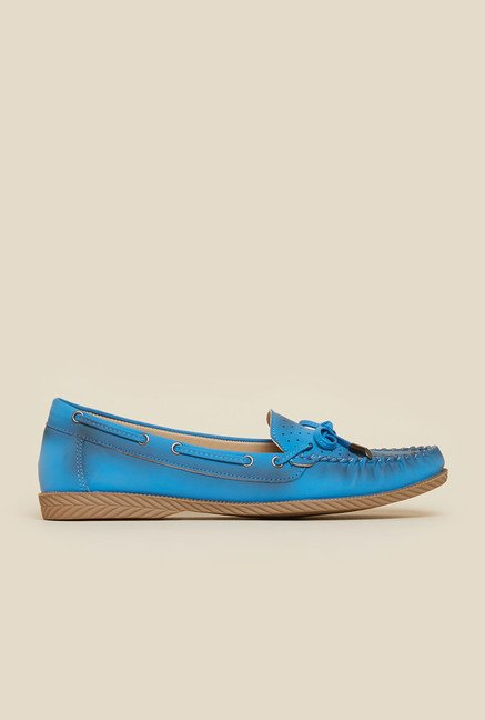 Metro Blue Synthetic Leather Moccasins