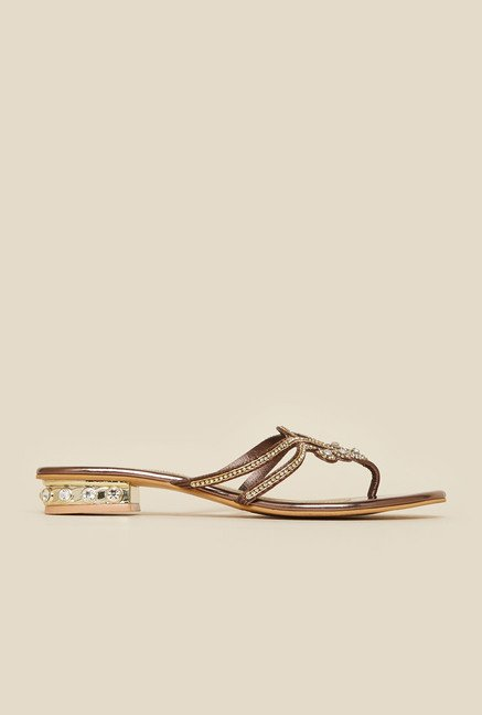 Metro Antique Gold Diamond Embellished Sandals