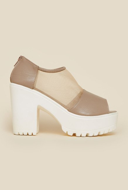 Metro Beige Block Heel Peep Toe Shoes