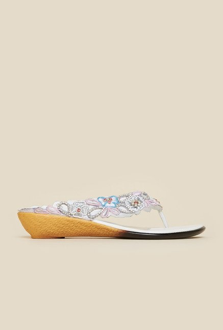 Metro White Embroidered Wedge Sandals